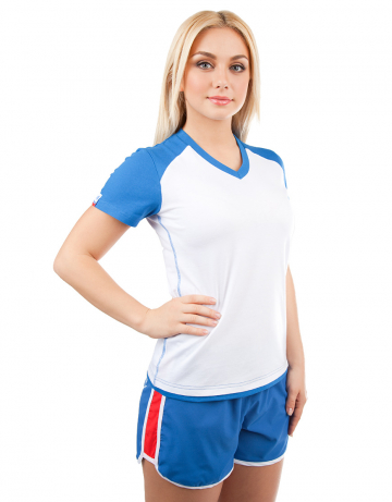 Спортивная футболка PROMO WOMENФутболки<br>Женская футболка с коротким рукавом. V - образный вырез горловины. Приталенный силуэт.<br><br>Размер: S<br>Цвет: Синий