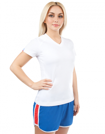 Спортивная футболка PROMO WOMENФутболки<br>Женская футболка с коротким рукавом. V - образный вырез горловины. Приталенный силуэт.<br><br>Размер INT: L<br>Цвет: Белый