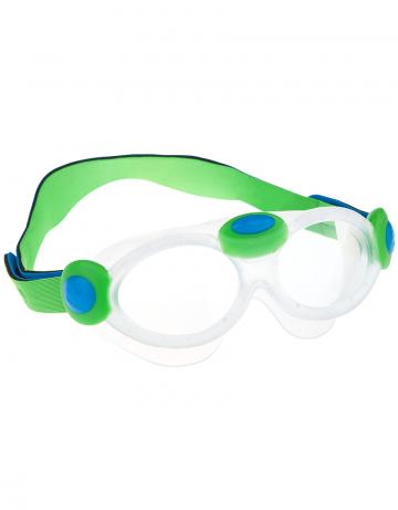 Тренировочные очки для плавания Kids bubble maskТренировочные очки<br>Маска для плавания, разработанная специально для детейц от 2-6лет. Не тонет в воде благодаря неопреновому ремешку. Легкая, мягкая, комфортная и прозрачная. Форма специально разработана под моторику детских рук. Широкий обтюратор защищает кожу вокруг глаз от агрессивной среды бассейна. Защита от ультрафиолетовых лучей UV 400. Целлюлозно-полимерные линзы. Вид переносицы - моноблок. Рамка: полипропилен, обтюратор выполнен из термопластичной резины. неопреновый ремешок. Поставляются в футляре.<br><br>Размер: None<br>Цвет: Зеленый