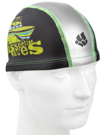 Комбинированная шапочка для плавания PATROLКомбинированные шапочки<br>Детская текстильная шапочка с полиуретановым покрытием и рисунком. Легкая и эргономичная.<br><br>Цвет: Черный