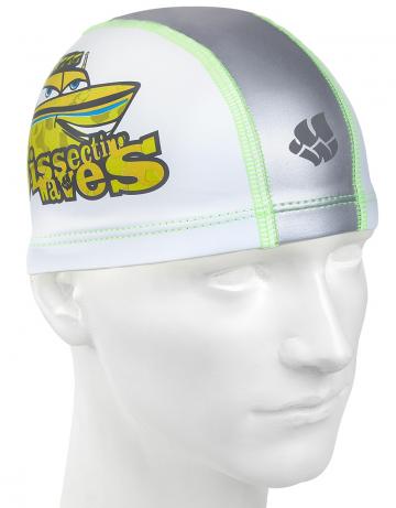 Комбинированная шапочка для плавания PATROLКомбинированные шапочки<br>Детская текстильная шапочка с полиуретановым покрытием и рисунком. Легкая и эргономичная.<br><br>Цвет: Белый