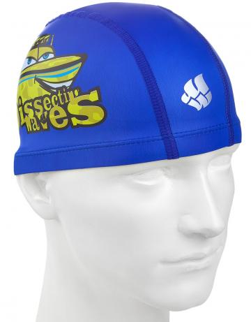 Комбинированная шапочка для плавания PATROLКомбинированные шапочки<br>Детская текстильная шапочка с полиуретановым покрытием и рисунком. Легкая и эргономичная.<br><br>Цвет: Синий