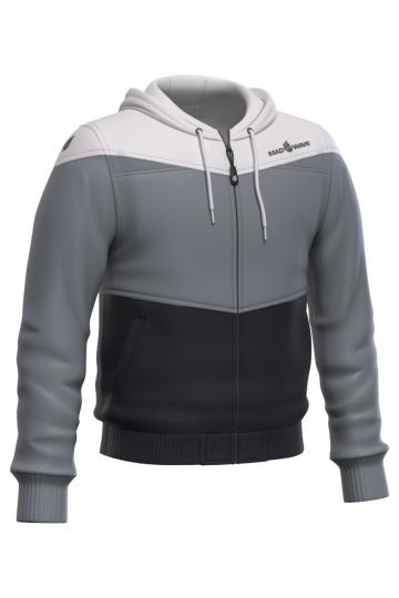Спортивная толстовка куртка PROSМужские куртки и толстовки<br>Тренировочная куртка унисекс с капюшоном. застежка молния пластиковая. Вставки из сетки на капюшоне и в области рукавов, позволяют коже дышать. По низу куртки и рукавоводвойная резинка.<br><br>Размер: XS<br>Цвет: Серый