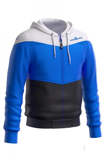 Спортивная толстовка куртка PROSМужские куртки и толстовки<br>Тренировочная куртка унисекс с капюшоном. застежка молния пластиковая. Вставки из сетки на капюшоне и в области рукавов, позволяют коже дышать. По низу куртки и рукавоводвойная резинка.<br><br>Размер: S<br>Цвет: Синий