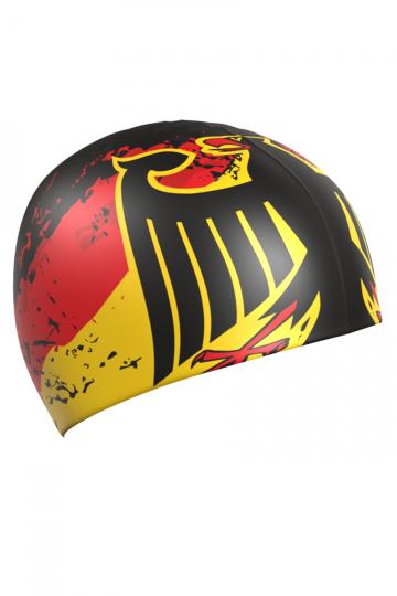 Силиконовая шапочка для плавания GermanyСиликоновые шапочки<br>Силиконовая шапочка с рисунком.<br><br>Размер: None<br>Цвет: Черный
