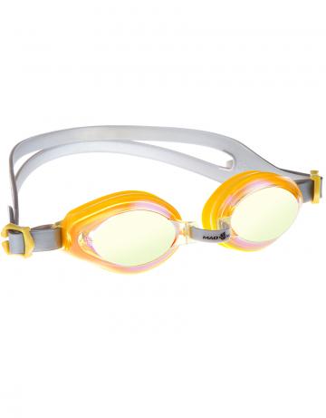 Тренировочные очки Mad Wave AQUA Rainbow M0415 05 0 06WТренировочные очки<br>Удобные юниорские очки для повседневных тренировок с зеркальнам покрытием. Защита от ультрафиолетовых лучей. Антизапотевающие стекла. Линзы из поликарбоната. Регулируемая мультиступенчатая переносица. Силиконовый обтюратор и ремешек.<br><br>Размер: None<br>Цвет: Желтый