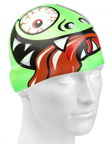 Силиконовая шапочка для плавания GREEN FACEСиликоновые шапочки<br>Юниорская силиконовая шапочка Mad Wave  GREEN FACE имеет классическую форму.  Выполненная из высококачественного мягкого силикона шапочка хорошо тянется, не повреждает волосы и не тянет их при снятии или надевании. Изделие обеспечивает полноценную защиту от влаги и хлора. Она сохраняет высокую эластичность и яркость на протяжении всего срока службы.  Идеальный выбор для регулярных занятий в бассейне.<br><br>Цвет: Зеленый