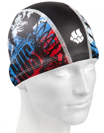 Комбинированная шапочка для плавания COLOR RUSКомбинированные шапочки<br>Текстильная шапочка с полиуретановым покрытием и рисунком. Лёгкая и комфортная.<br><br>Цвет: Черный