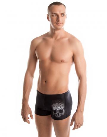 Мужские плавки-шорты DRAGONПлавки-шорты<br>Плавки-шорты со средним уровнем талии.<br>Внутри пояса шнурок. Высота бокового шва - 24 см.<br><br>Размер: XXL<br>Цвет: Черный