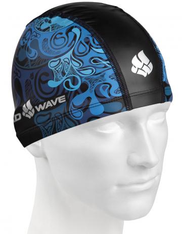 Комбинированная шапочка для плавания WAVEКомбинированные шапочки<br>Текстильная шапочка с полиуретановым покрытием и рисунком. Лёгкая и комфортная.<br><br>Размер: None<br>Цвет: Синий