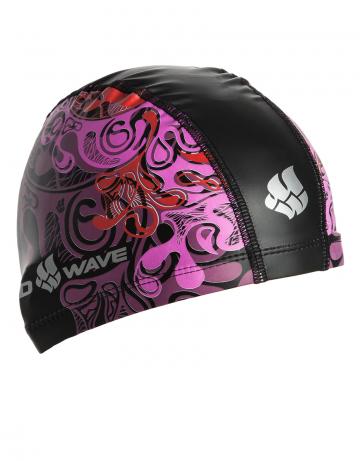 Комбинированная шапочка для плавания WAVEКомбинированные шапочки<br>Текстильная шапочка с полиуретановым покрытием и рисунком. Лёгкая и комфортная.<br><br>Цвет: Розовый