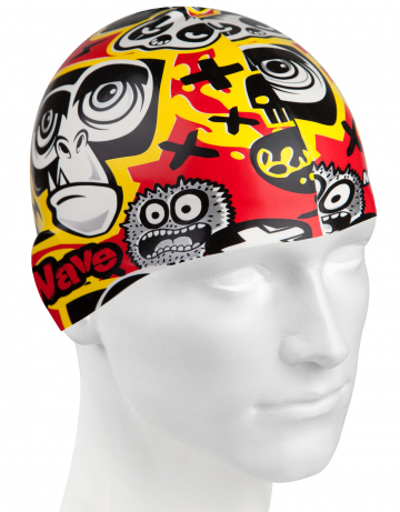 Силиконовая шапочка для плавания MONKEYСиликоновые шапочки<br>Юниорская силиконовая шапочка с рисунком.<br><br>Размер: None<br>Цвет: Черный