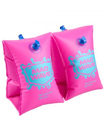 Нарукавники для плавания MAD WAVEНарукавники<br>Сделаны из высококачественного ламинированного низкофталатного ПВХ с безопасными клапанами. Соответствуют всем европейским стандартам безопасности.<br><br>Размер RU: 6-12<br>Цвет: Розовый