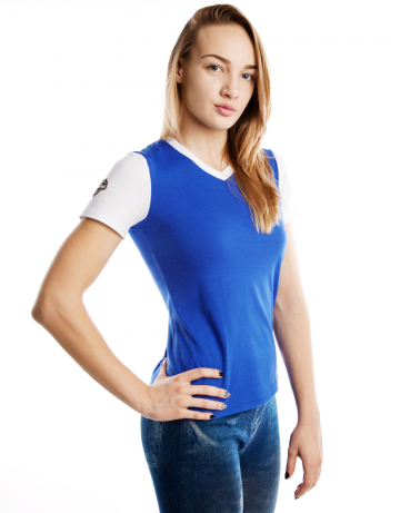 Спортивная футболка PRO Women T-shirtФутболки<br>Женская футболка с коротким рукавом. V-образный вырез<br>горловины. Приталенный силуэт.<br><br>Размер: M<br>Цвет: Синий
