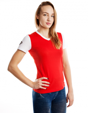 Спортивная футболка PRO Women T-shirtФутболки<br>Женская футболка с коротким рукавом. V-образный вырез<br>горловины. Приталенный силуэт.<br><br>Размер INT: XL<br>Цвет: Красный