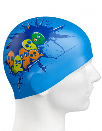 Силиконовая шапочка для плавания HELLO DUDE!Силиконовые шапочки<br>Юниорская силиконовая шапочка Mad Wave HELLO DUDE!  имеет классическую форму.  Выполненная из высококачественного мягкого силикона шапочка хорошо тянется, не повреждает волосы и не тянет их при снятии или надевании. Изделие обеспечивает полноценную защиту от влаги и хлора. Она сохраняет высокую эластичность и яркость на протяжении всего срока службы.<br><br>Цвет: Синий