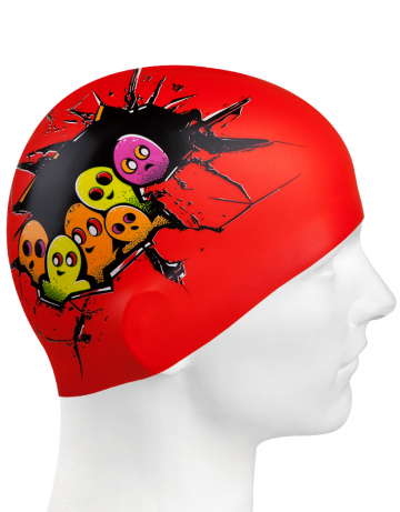 Силиконовая шапочка для плавания HELLO DUDE!Силиконовые шапочки<br>Юниорская силиконовая шапочка Mad Wave HELLO DUDE!  имеет классическую форму.  Выполненная из высококачественного мягкого силикона шапочка хорошо тянется, не повреждает волосы и не тянет их при снятии или надевании. Изделие обеспечивает полноценную защиту от влаги и хлора. Она сохраняет высокую эластичность и яркость на протяжении всего срока службы.<br><br>Цвет: Красный