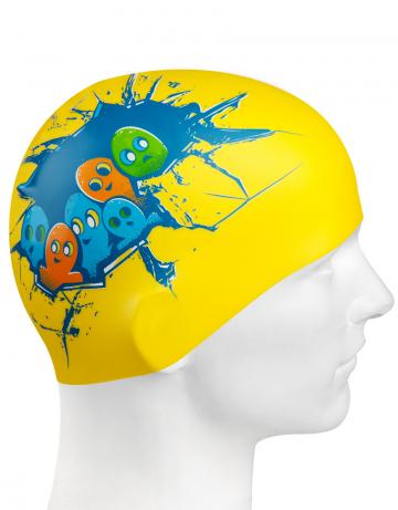 Силиконовая шапочка для плавания HELLO DUDE!Силиконовые шапочки<br>Юниорская силиконовая шапочка Mad Wave HELLO DUDE!  имеет классическую форму.  Выполненная из высококачественного мягкого силикона шапочка хорошо тянется, не повреждает волосы и не тянет их при снятии или надевании. Изделие обеспечивает полноценную защиту от влаги и хлора. Она сохраняет высокую эластичность и яркость на протяжении всего срока службы.<br><br>Цвет: Желтый
