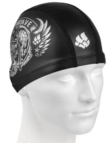 Комбинированная шапочка для плавания MAD TIGERКомбинированные шапочки<br>Текстильная шапочка с полиуретановым покрытием и рисунком. Лёгкая и комфортная.<br><br>Цвет: Черный