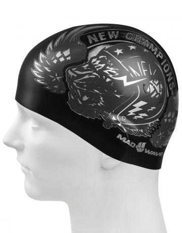 Силиконовая шапочка для плавания TIGERСиликоновые шапочки<br>Силиконовая шапочка с рисунком.<br><br>Цвет: Черный