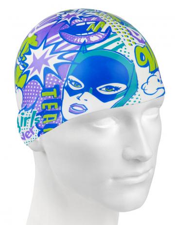 Силиконовая шапочка для плавания COMICSСиликоновые шапочки<br>Силиконовая шапочка изготовлена из прочного гладкого силикона. Отличается высокой эластичностью, легко надевается,  благодаря чему подходит как взрослым так и подросткам от 10 лет. Плотно облегает голову, оставляя волосы относительно сухими, при этом не электризует волосы, не тянет и не выдирает их.   Надежно защищает волосы и кожу головы от воздействия хлорированной воды в бассейне, обеспечивает безопасность во время плавания, защищая от попадания волос в глаза и под детали очков или купальника.<br><br>Цвет: Фиолетовый