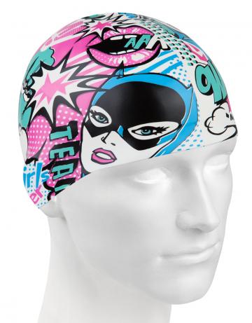 Силиконовая шапочка для плавания COMICSСиликоновые шапочки<br>Силиконовая шапочка изготовлена из прочного гладкого силикона. Отличается высокой эластичностью, легко надевается,  благодаря чему подходит как взрослым так и подросткам от 10 лет. Плотно облегает голову, оставляя волосы относительно сухими, при этом не электризует волосы, не тянет и не выдирает их.   Надежно защищает волосы и кожу головы от воздействия хлорированной воды в бассейне, обеспечивает безопасность во время плавания, защищая от попадания волос в глаза и под детали очков или купальника.<br><br>Цвет: Розовый