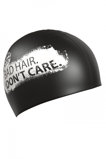 Силиконовая шапочка для плавания DONT CAREСиликоновые шапочки<br>Силиконовая шапочка изготовлена из прочного гладкого силикона. Отличается высокой эластичностью, легко надевается,  благодаря чему подходит как взрослым так и подросткам от 10 лет. Плотно облегает голову, оставляя волосы относительно сухими, при этом не электризует волосы, не тянет и не выдирает их.   Надежно защищает волосы и кожу головы от воздействия хлорированной воды в бассейне, обеспечивает безопасность во время плавания, защищая от попадания волос в глаза и под детали очков или купальника.<br><br>Цвет: Черный