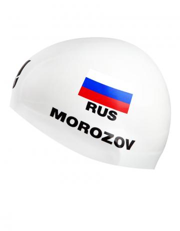 Силиконовая шапочка для плавания MOROZOV R-CapСиликоновые шапочки<br>Изготовление под заказ персональных шапочек с именами атлетов.<br>Условия:<br>-12 стандартных шапок (из каталога)-3300 руб.<br>-обязательное условие-наш логотип<br><br>Расчет стоимости:<br>90 руб-шапка+30 $за 1 (каждый) цвет в принте<br><br>Минимальный заказ -12 штук<br><br>Размер INT: L<br>Цвет: Белый