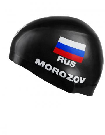 Силиконовая шапочка для плавания MOROZOV R-CapСиликоновые шапочки<br>Изготовление под заказ персональных шапочек с именами атлетов.<br>Условия:<br>-12 стандартных шапок (из каталога)-3300 руб.<br>-обязательное условие-наш логотип<br><br>Расчет стоимости:<br>90 руб-шапка+30 $за 1 (каждый) цвет в принте<br><br>Минимальный заказ -12 штук<br><br>Размер INT: L<br>Цвет: Черный