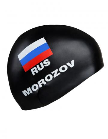 Силиконовая шапочка для плавания MOROZOVСиликоновые шапочки<br>Изготовление под заказ персональных шапочек с именами атлетов.<br>Условия:<br>-12 стандартных шапок (из каталога)-3300 руб.<br>-обязательное условие-наш логотип<br><br>Расчет стоимости:<br>90 руб-шапка+30 $за 1 (каждый) цвет в принте<br><br>Минимальный заказ -12 штук<br><br>Цвет: Черный