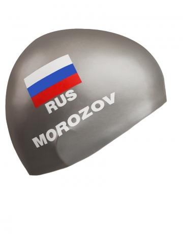 Силиконовая шапочка для плавания MOROZOVСиликоновые шапочки<br>Изготовление под заказ персональных шапочек с именами атлетов.<br>Условия:<br>-12 стандартных шапок (из каталога)-3300 руб.<br>-обязательное условие-наш логотип<br><br>Расчет стоимости:<br>90 руб-шапка+30 $за 1 (каждый) цвет в принте<br><br>Минимальный заказ -12 штук<br><br>Цвет: Серебро