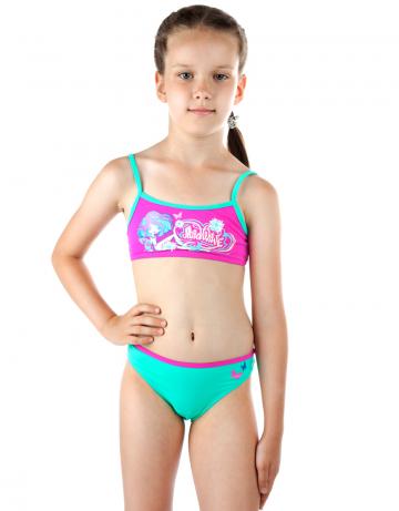 Детский пляжный купальник LOLLYДетские пляжные купальники<br>Раздельный купальник состоит из лифа-маечки и классических трусиков. Декорирован апликацией.<br><br>Размер RU: S(7-8)<br>Цвет: Зеленый