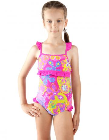 Детский пляжный купальник PlanktonДетские пляжные купальники<br>Детский пляжный сплошной купальник Plankton имеет закрытую спину. Купальник декорирован рюшами.<br><br>Размер RU: XXS (3-4)<br>Цвет: Розовый