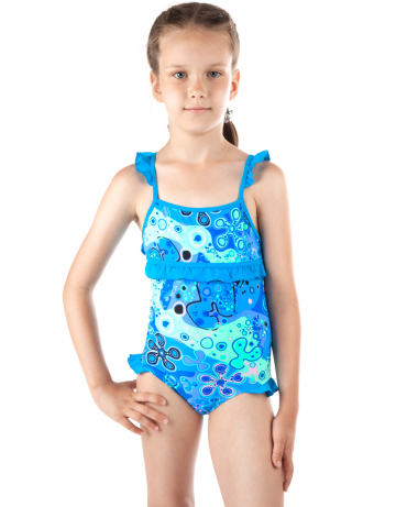 Детский пляжный купальник PlanktonДетские пляжные купальники<br>Детский пляжный сплошной купальник Plankton имеет закрытую спину. Купальник декорирован рюшами.<br><br>Размер: XXS (3-4)<br>Цвет: Синий