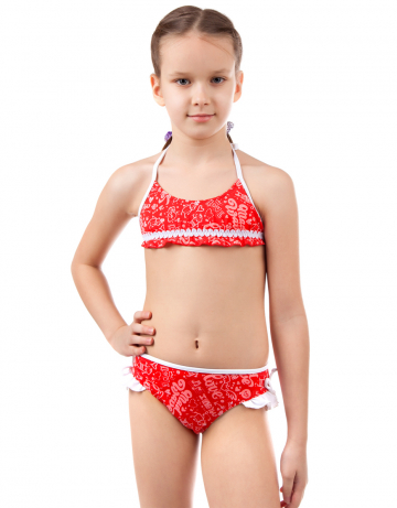 Детский пляжный купальник WingsДетские пляжные купальники<br>Раздельный купальник. Лиф на завязках декорирован отделочной тесьмой. Трусики с рюшами.<br><br>Размер RU: XXS (3-4)<br>Цвет: Красный