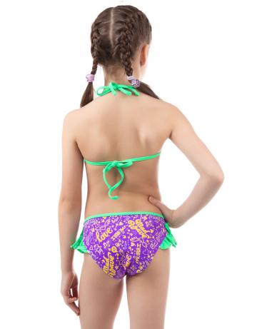 Детский пляжный купальник WingsДетские пляжные купальники<br>Раздельный купальник. Лиф на завязках декорирован отделочной тесьмой. Трусики с рюшами.<br><br>Размер RU: XXS (3-4)<br>Цвет: Фиолетовый