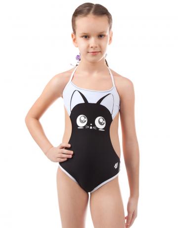 Детский пляжный купальник CatДетские пляжные купальники<br>Слитный купальникм с открытой спиной на завязках. Спереди апликация в виде кота.<br><br>Размер RU: XS(5-6)<br>Цвет: Черный