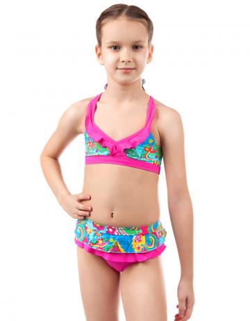 Детский пляжный купальник DaisyДетские пляжные купальники<br>Раздельный купальник. Лиф - майка декорирован рюшами. Трусики с юбочкой.<br><br>Размер RU: XXS (3-4)<br>Цвет: Розовый
